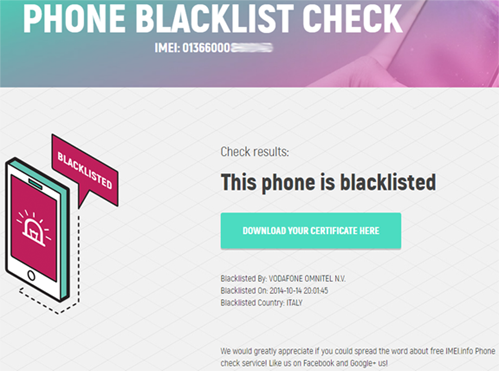 Phone Black List Checker (Blackisted / Blocked / Barred / Lost / Stolen)