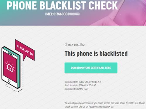 Phone Blacklist Checker - IMEI info