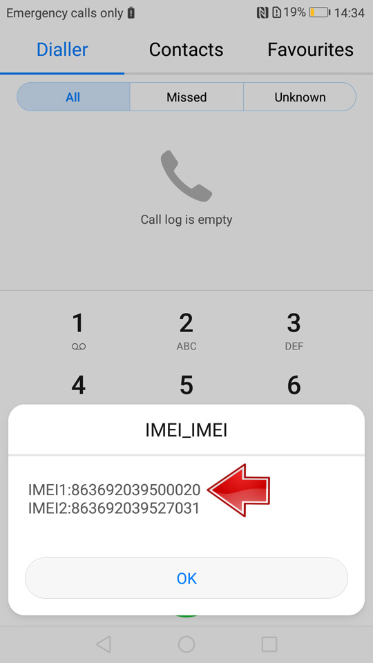 IMEI Number Android Screen