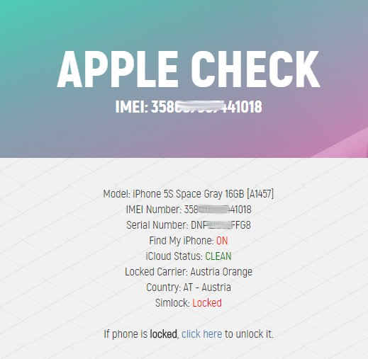Check the status of the function Find My iPhone - News - IMEI info