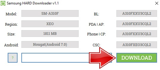 Download firmware via Instal Samsung HARD Downloader