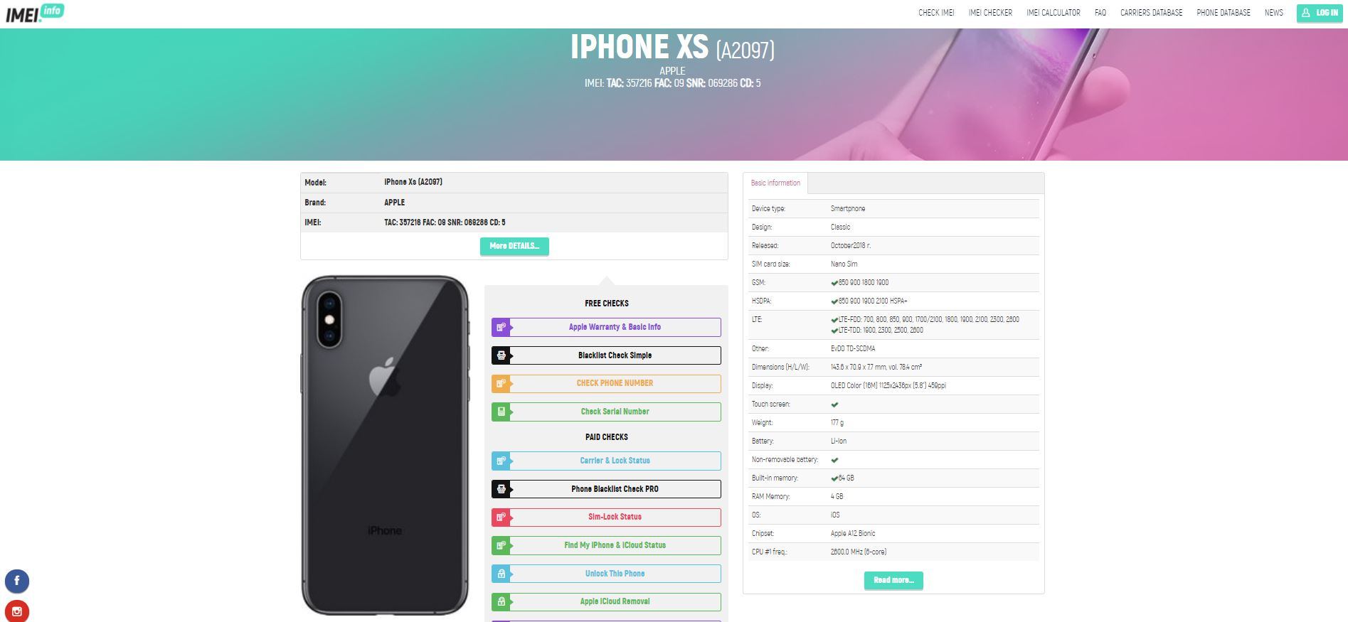 iPhone specification