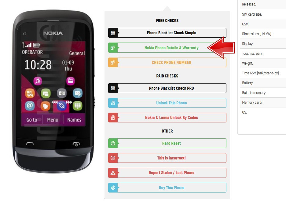 Nokia Details & Warranty - IMEI info